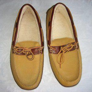 L.L.BEAN Tan Leather/Fleece Moc Toe Slippers,10 M